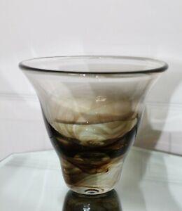 Main soufflé marron écaille marbré vase en verre ~ Rough pontil ~ signé 1983-afficher le titre d`origine 3Ln3y5Cz-09155456-286477872