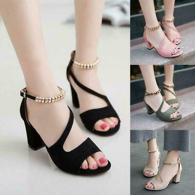 Chic Womens Open Toe Block High Heels Sandals Ankle Cross Strap Buckle Plus Size