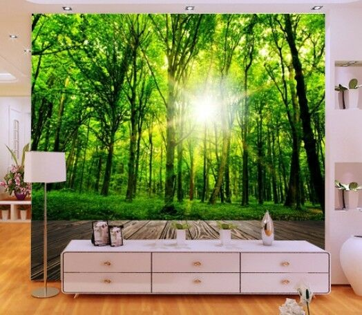 3D Transparent Forest Wall Paper Wall Print Decal Wall Deco Indoor wall Mural