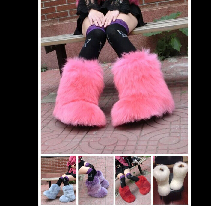 New femmes Faux Fur Warm Thick Winter Snow démarrage Fluffy Cosplay Casual chaussures Warm