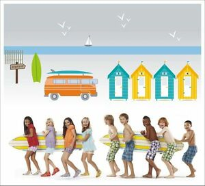 "Orderly Kids Removable Vinyl Wall Stickers Decals, Stickers & Vinyl Art Nursery Décor ""surf's Up"" Beach Cabins Sa-12-027 A Plastic Case Is Compartmentalized For Safe Storage"