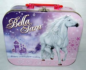 2008 BELLA SARA LUNCH TIN METAL STORAGE BOX CARRY CASE BEAUTY COMES FROM WITHIN