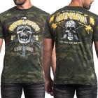 Affliction Commando Strike Force Skull Guns Mens T-Shirt Military Green Camo 4XL