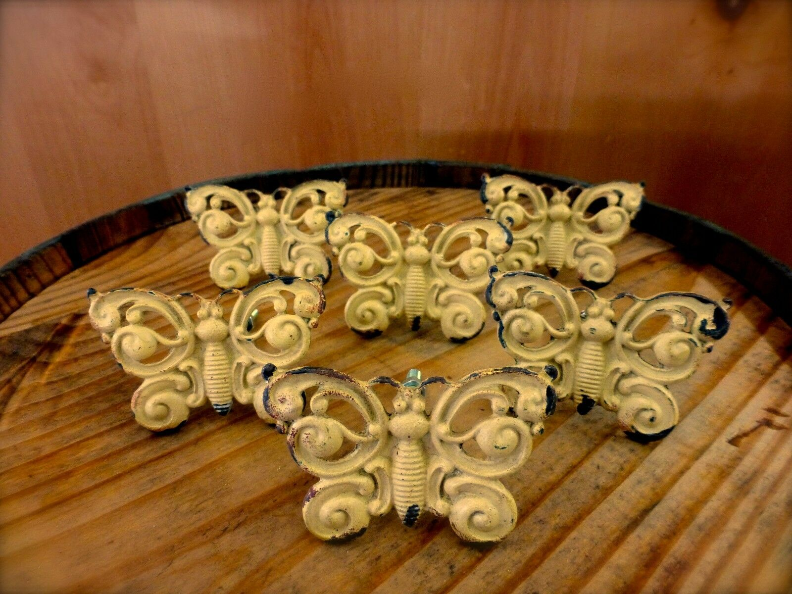 6 YELLOW VINTAGE-STYLE FANCY BUTTERFLY DRAWER CABINET PULL HANDLE KNOB hardware