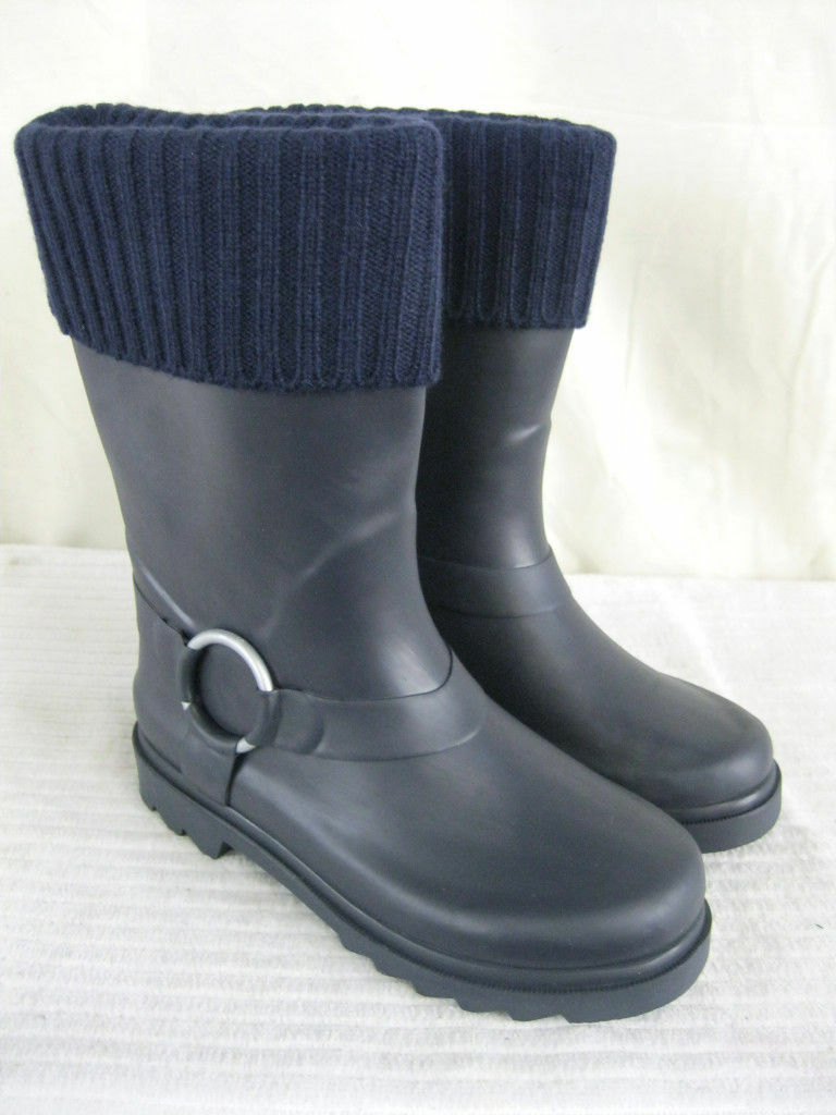NAVY BLUE WELLIES/ WELLINGTON BOOTS WITH SOCK TOP X1038