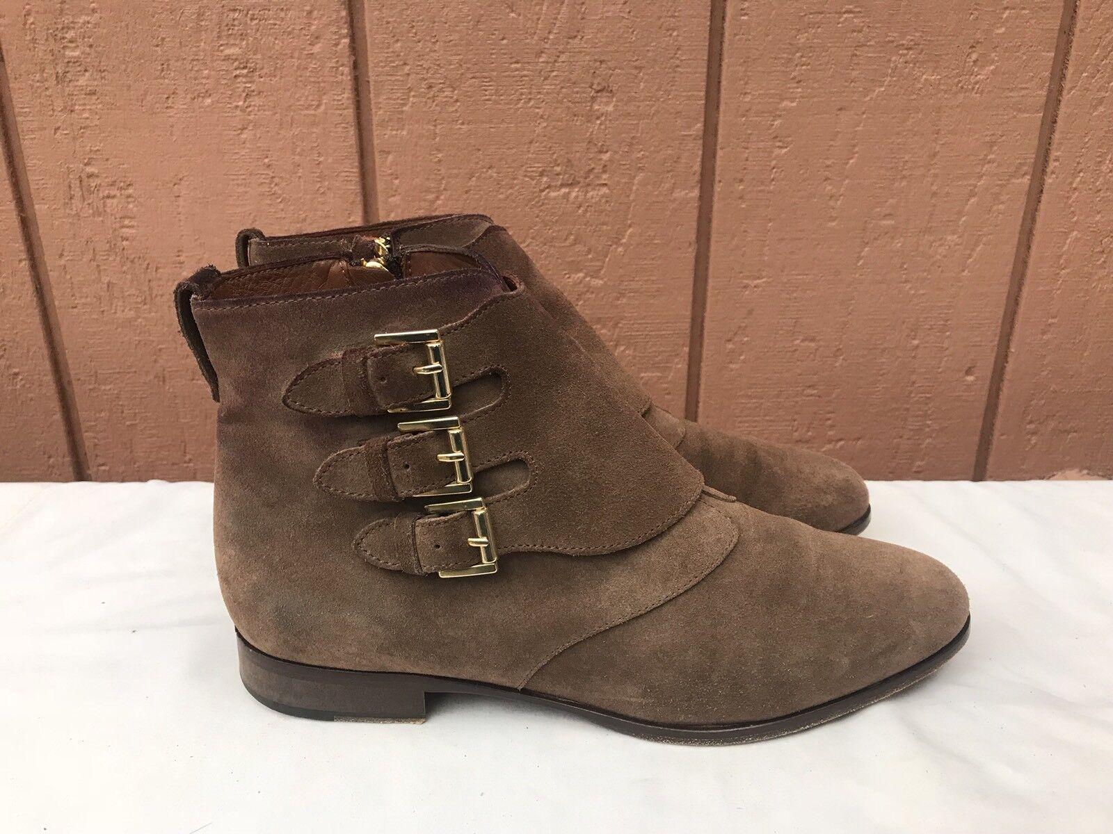 Usado en excelente estado Massimo Dutti Mujeres botas al Tobillo Zapatos Correas De Gamuza Marrón EE. UU. 9 - 9.5