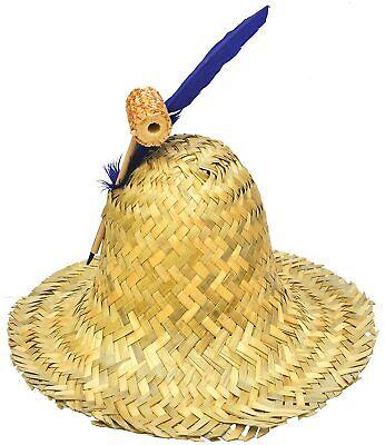 Straw Hillbilly Adult Hat Costume Cap Hobo Feather Scarecrow Farmer Halloween