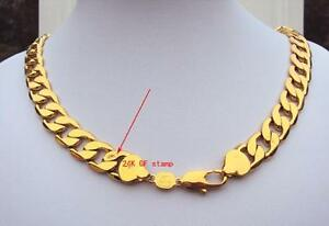 Heavy-108g-24k-GF-Stamp-Gold-23-6inch-Men-039-s-Necklace-12MM-Curb-Chain-Jewelry
