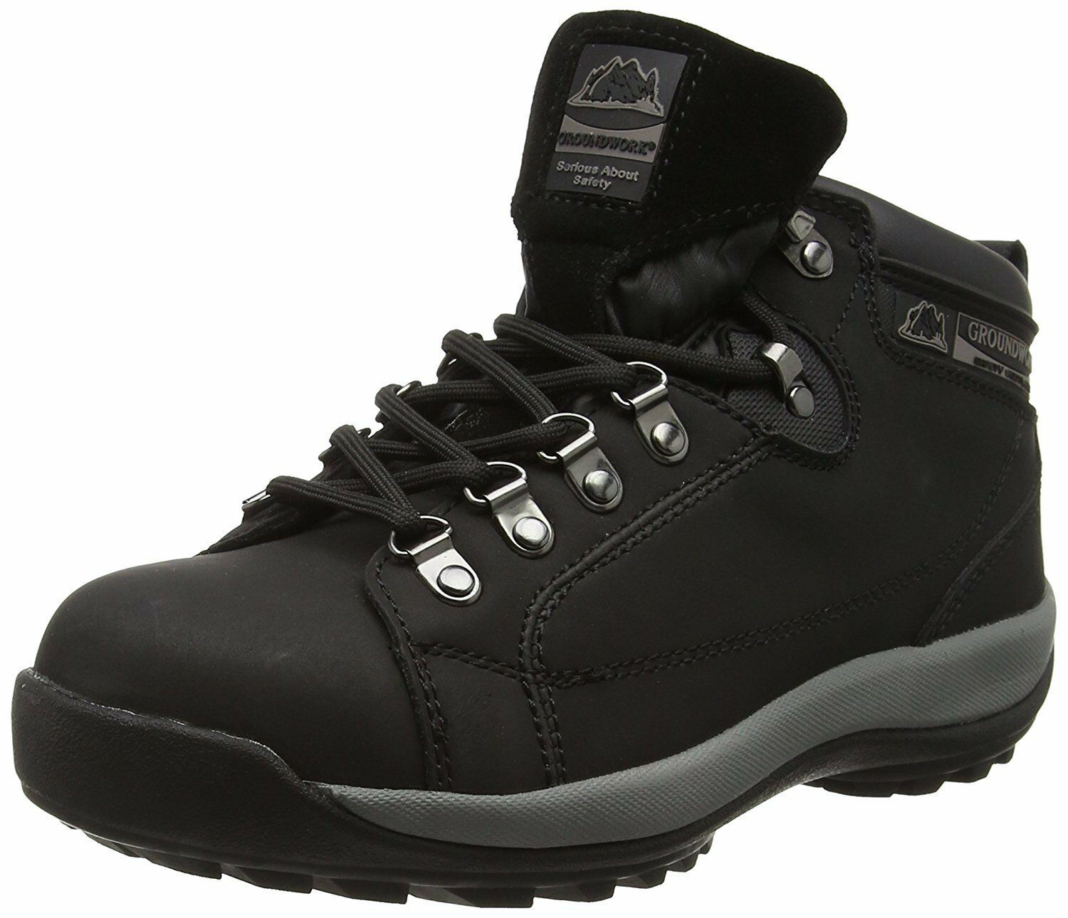 New Groundwork GR387 Safety Steel Toe Cap Work Boots Leather Hiking shoes Black