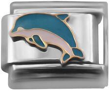 Italian charm December dolphin 9mm classic link    (Z40)