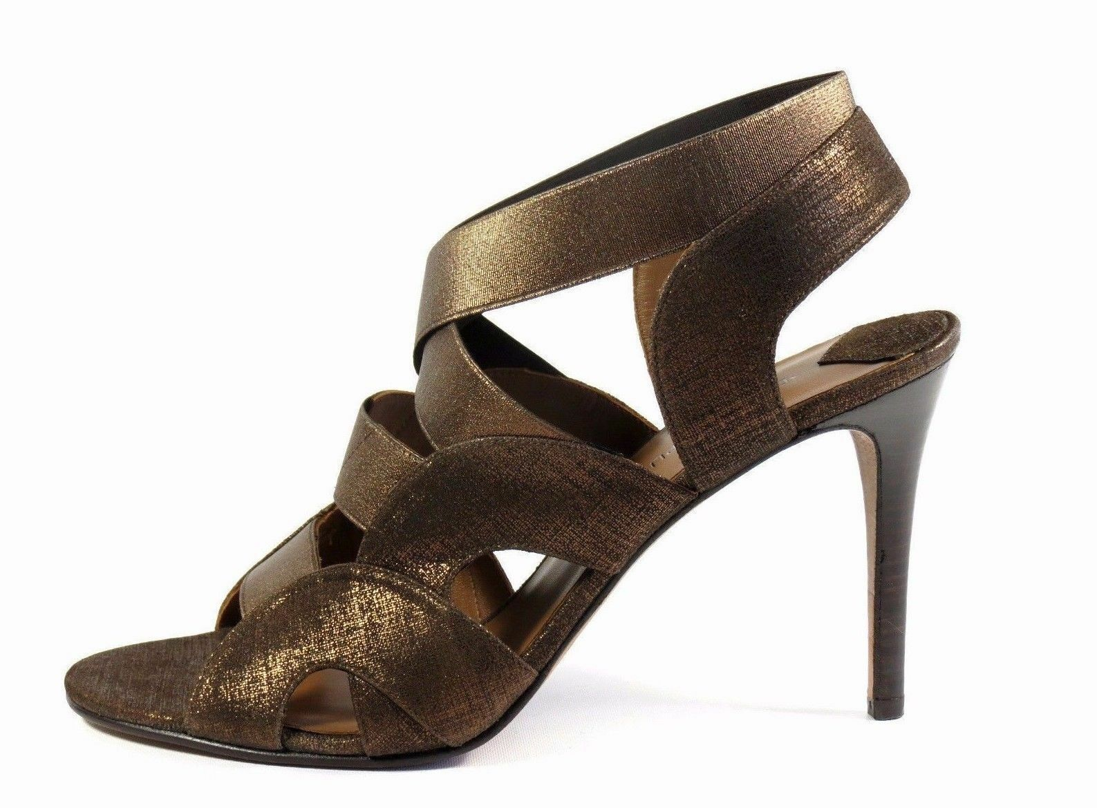 Donald Pliner Toe Milos Bronze Metallic Leder Elastic Strap Open Toe Pliner High Heel 7.5 e9fd85