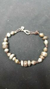 Lucky-Brand-Leather-Bracelet-Metal-Beads