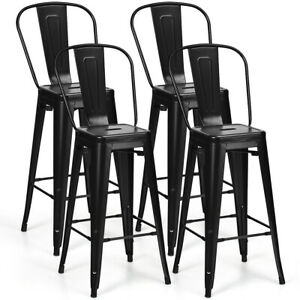 Prime Details About Set Of 4 High Back Metal Stool 30 Seat Bar Height Industrial Bar Stools Black Machost Co Dining Chair Design Ideas Machostcouk