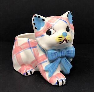 Vintage Ceramic Porcelain Plaid Kitten Pink Blue Planter Handpainted Japan