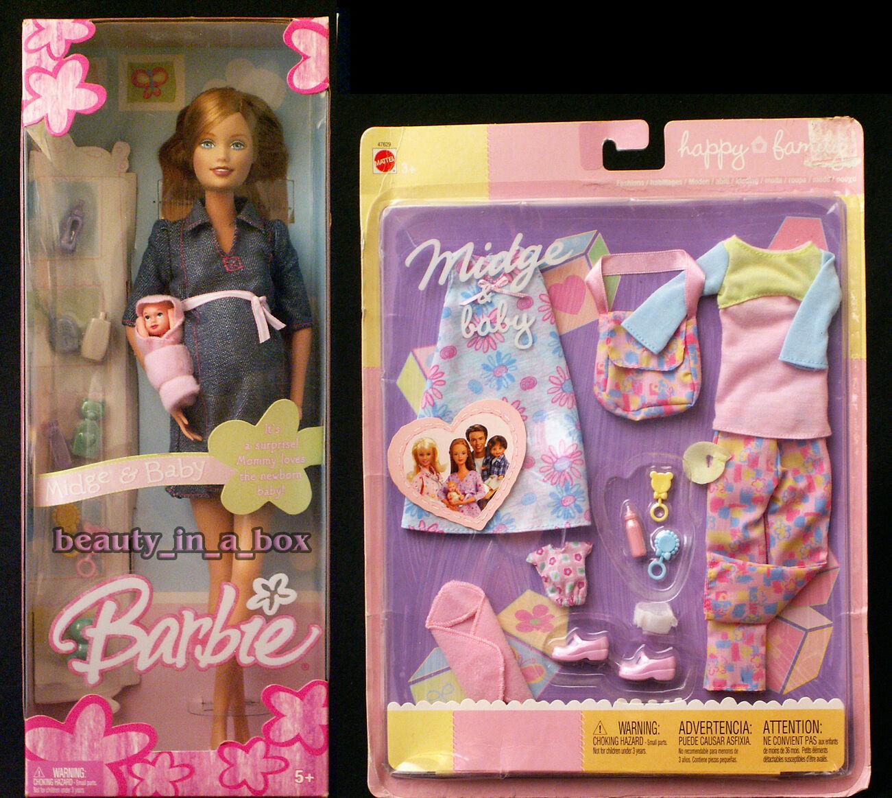 Cecidomia del Embarazadas Y Bebés Familia Feliz Muñeca Barbie Moda Vestido Denim Bump  Lote 2