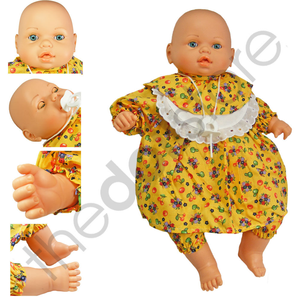 Baby Doll Toy White 46cm Soft Body Crying Sound Battery Operated Yellow Dress