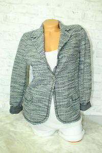 Italy-New-Collection-Jacke-Gr-36-38-40-Blazer-grau-blogger-Karo-Boucle