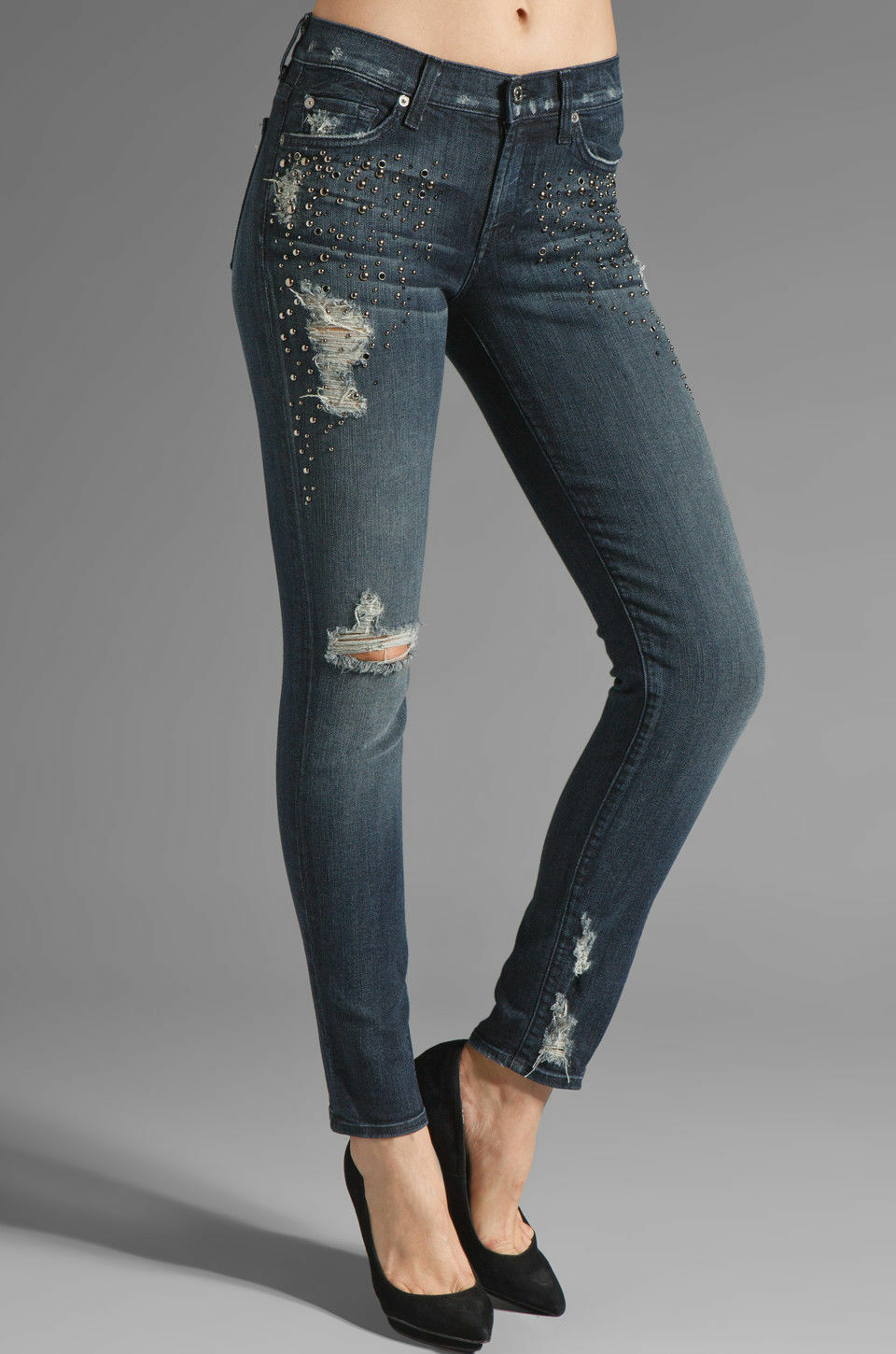 3077dd05032227 7 For Mankind Women's The slim cigarette Jean crystals, Grey Tint SZ 26  with All pezovh4567-Jeans