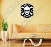 Jolly Roger Pirate Black Spot Death Skull Wall Sticker Interior Decor 20x25