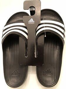 748fc23ce7d0 Adidas Mens Size 11 Black   White Slides Flip Flops Sandals