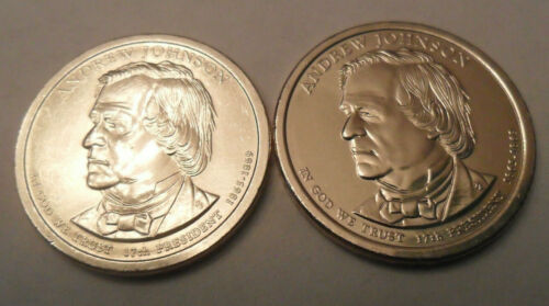 2 Coins *FREE SHIPPING* 2011 P /& D Andrew Johnson Presidential Dollar Set