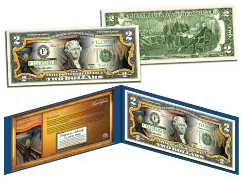 THE SCREAM Edward Munch 1893 *Famous Masterpieces* Legal Tender $2 U.S Bill