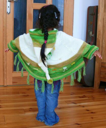 rot weiß Gr.80*86 XXL-Kapuze Inka Indianer Peru Ärmel Kinder Poncho m 92*98