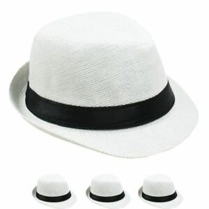 5d82bac83b1 NEW HIGH QUALITY SMALL WHITE FEDORA HAT MEN WOMEN Trilby Gangster ...