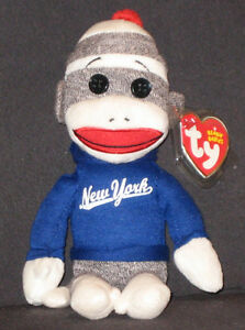 TY NEW YORK SOCK MONKEY BEANIE BABY - MINT with MINT TAGS 8421409648 ... 84ab7c1a4b8d