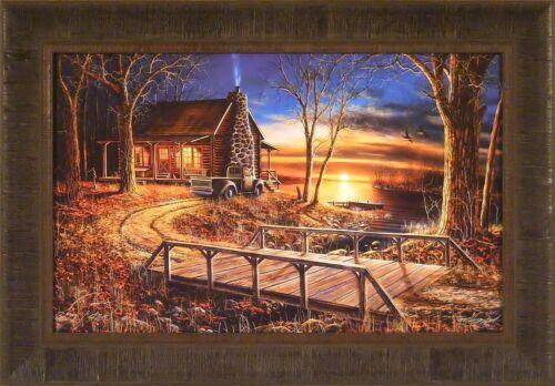 SIMPLER TIMES by Jim Hansel 18x26 FRAMED PRINT Log Cabin Lake Bridge S//N L//E