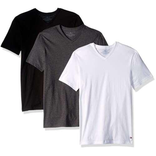 Tommy Hilfiger Men/'s Underwaer 3 Pack Cotton Classic Fit V-neck T-shirt Tee NEW