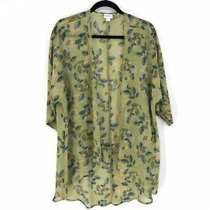Lularoe-da-donna-Taglia-Small-Lindsay-Kimono-Velato-Verde-Stampa-Floreale-Multicolor