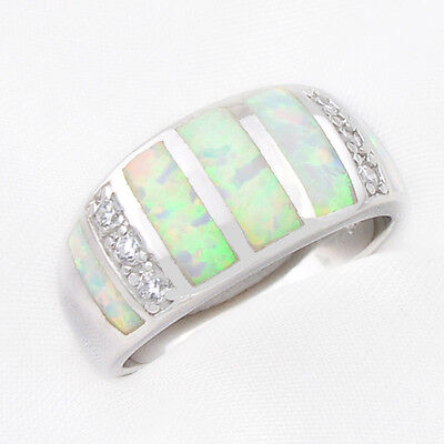 29.70 Cts Woman 925 Sterling Silver Rainbow Fire Opal Gems Wedding  Ring size 8