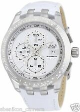 100% New Swatch Irony Chrono Automatic Chronograph Right Track White SVGK406