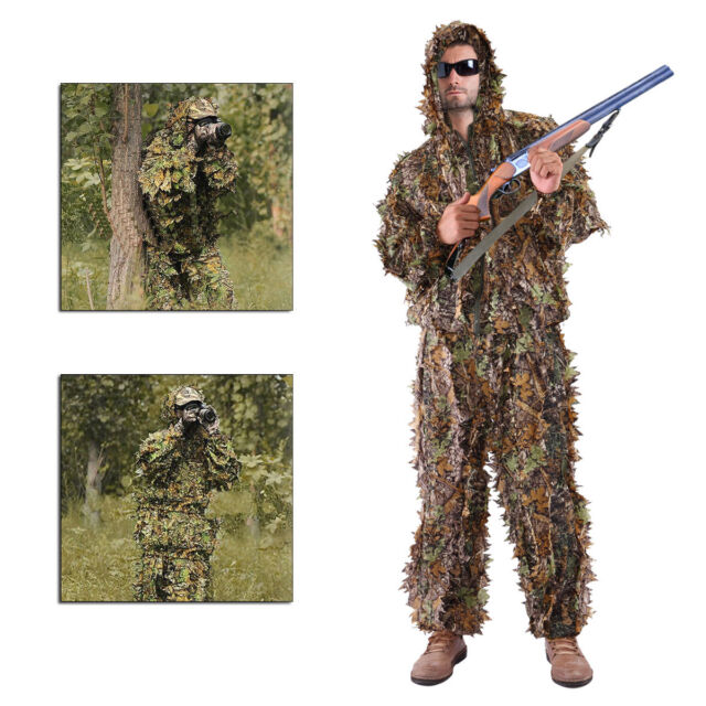 a81fa7237145e Leaf Ghillie Suit Woodland Camo Camouflage Clothing 3D jungle Hunting M/L