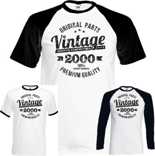 Vintage Year 2000 Premium Quality Mens 18th Distressed Birthday T-Shirt Present