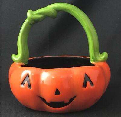 Pumpkin Mouth Candy Bowl 5 1//2 H Ceramic Halloween Dish