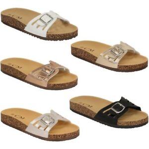 3535cc41a492 Ladies Slippers Slip On Flat Mule Sandals Womens Sliders Patent Cork ...