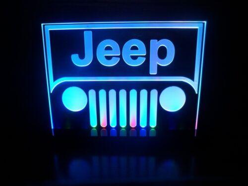 Jeep Wrangler Logo Table Lamp Car Auto LED Light Man cave Room Garage Neon Signs