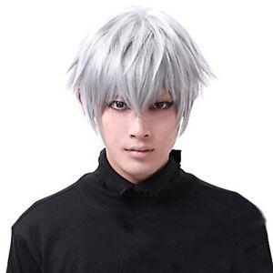 Men S Tokyo Ghoul Kaneki Ken Short Silver White Cosplay Wig Straight