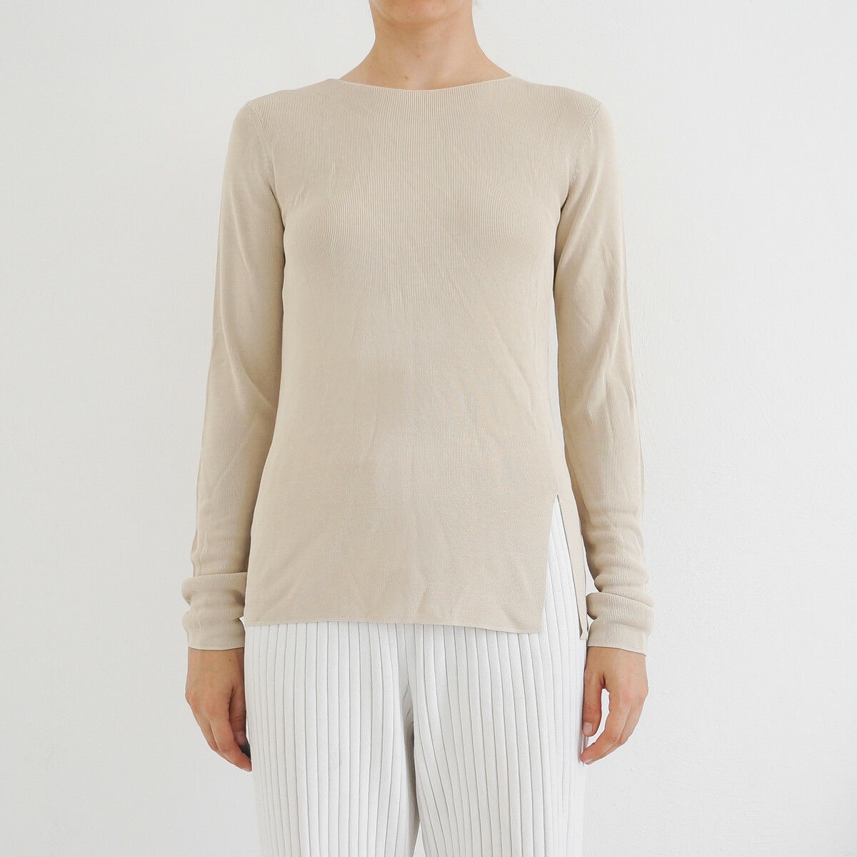 Hof115  cos Top Pullover Beige fine-Knit top with cut-out back Birch M