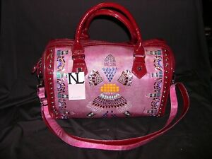 Details About Nicole Lee Leather Canvas Stud Tribal Aztec Duffle Bag Overnighter Nwt
