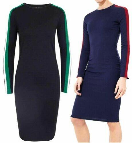 Damen Midi Designer Kleid Sadie Seitenstreifen Modisch Langärmlig