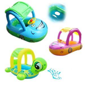 Babyboot-mit-Dach-Kinder-Boot-Schwimmboot-Kinderboot-Schwimmring-Schwimmhilfe