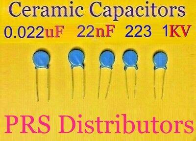 50pcs High Voltage Ceramic Disc Capacitors 22000PF 22NF 1000V 1KV 223 NEW