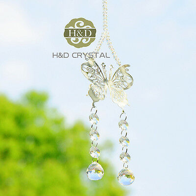 Clear Crystal Glass Ball Butterfly Pendant Suncatcher Home Decor Wedding Gift