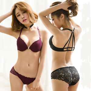 0a6f2c244e Sexy Lace Lingerie Front Closure Push Up Bra Set Underwear Padded ...