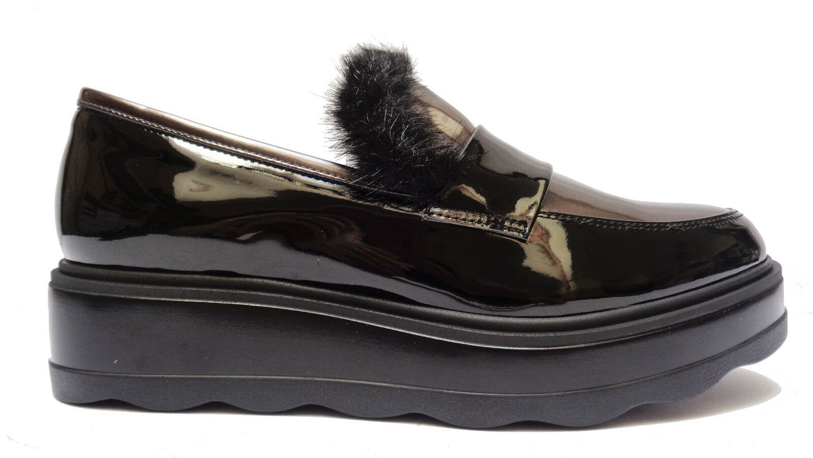 chaussures DA femmes CINZIA SOFT LINEA COMODA MOCASSINI IN VERNICE noir ZEPPA CM. 4