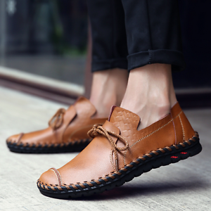 Mens Leather Flat Heels Slip On shoes Loafers Casual Driving Moccasins Fashion