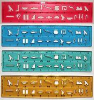 Egyptian Hieroglyphic Alphabet Stencil Ruler 10 Acrylic Ruler 22 Hieroglyphs